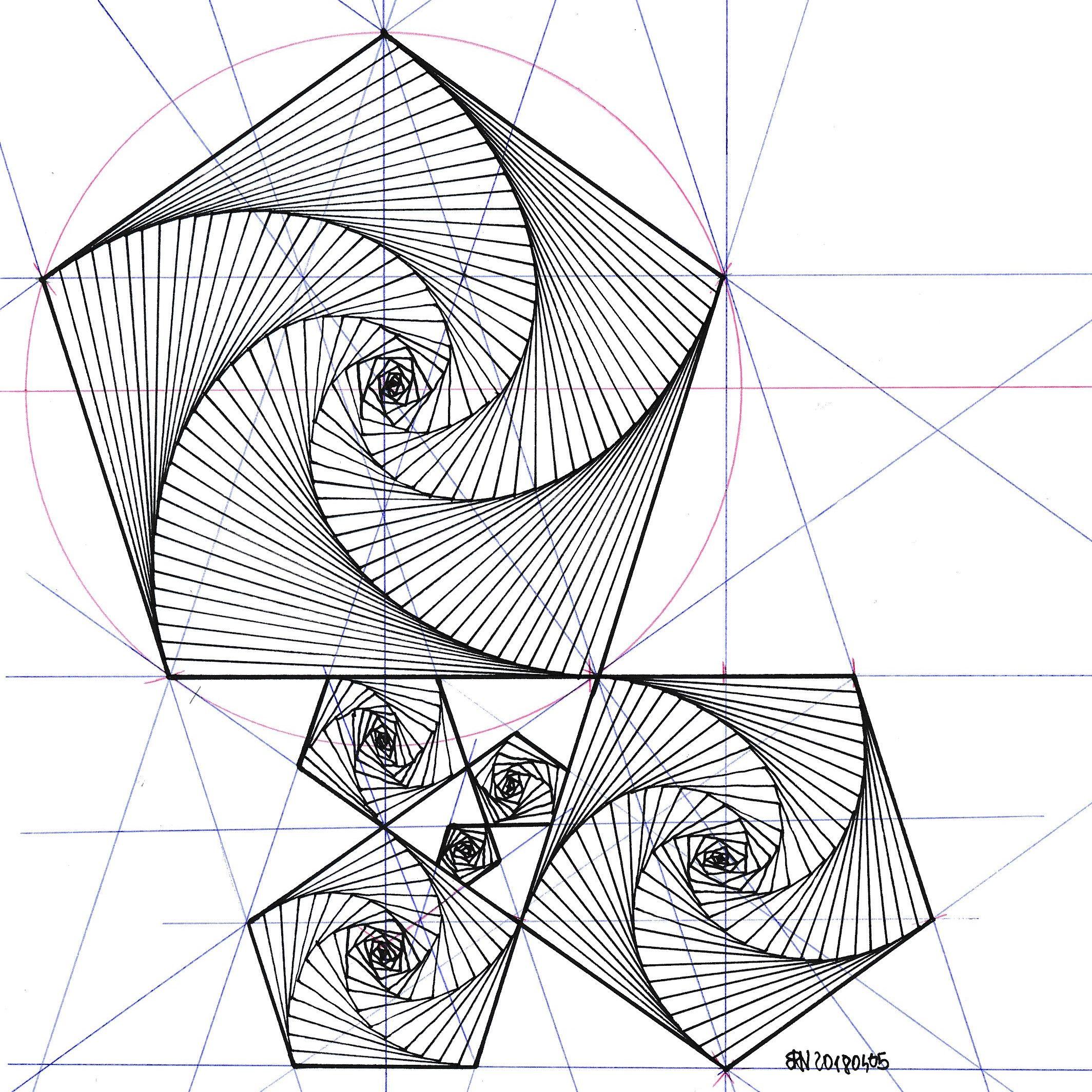 geometry #symmetry #handmade #mathart #regolo54 #fractal #fibonacci ...