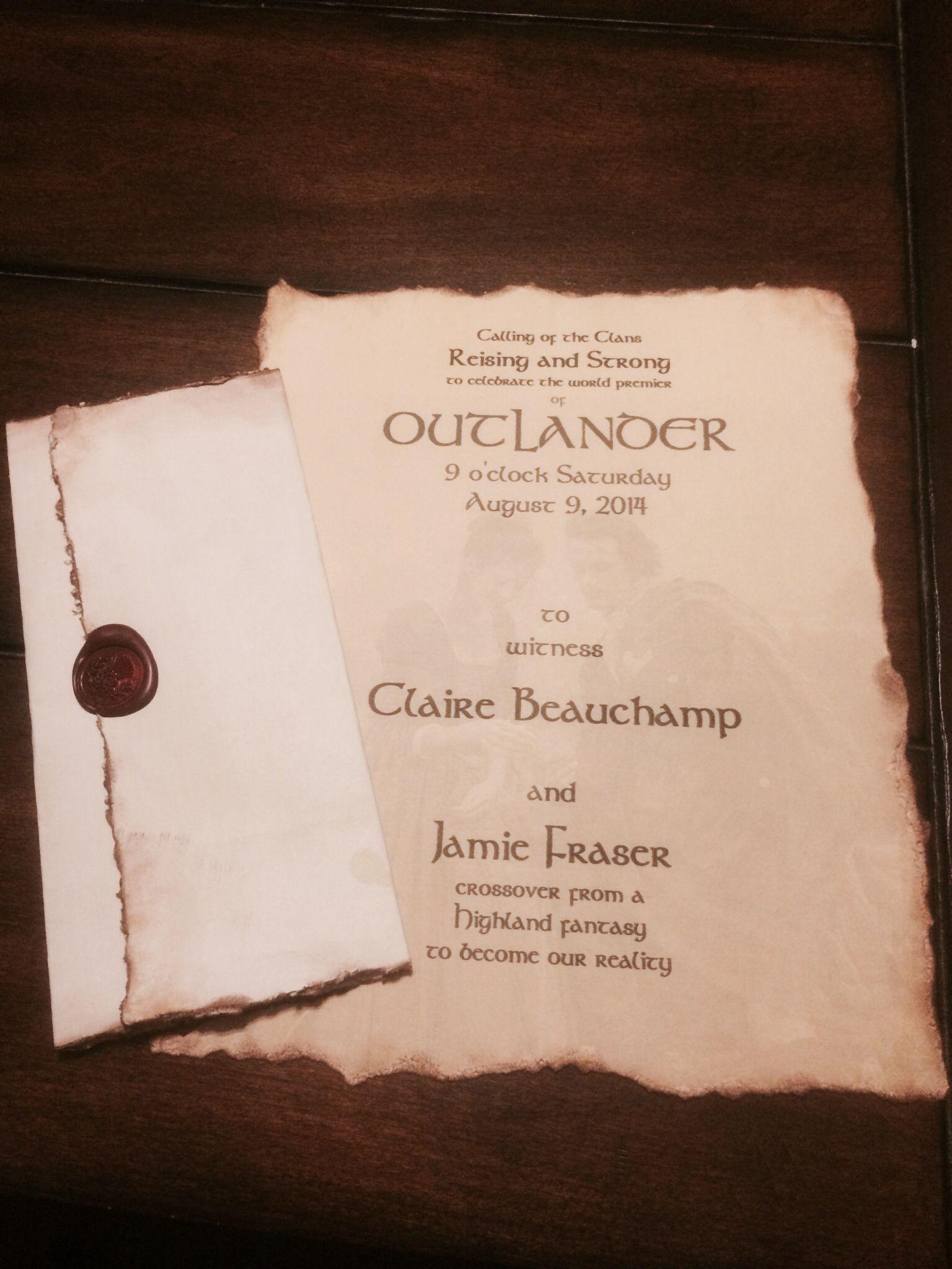 Outlander my premier party invite Outlander wedding