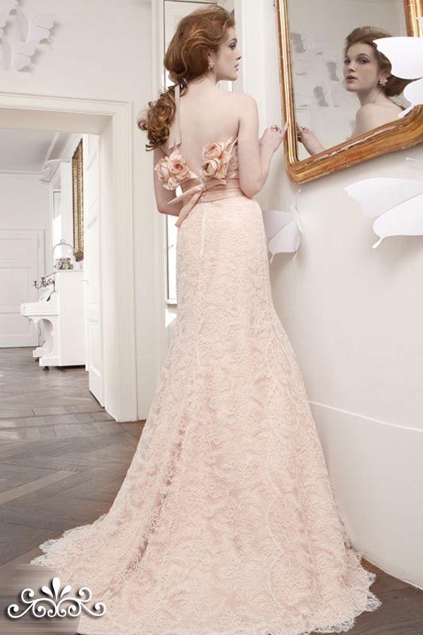 Dresses, Bridal Rosa Cipria Peach Pink Lace Sheath Gown Wedding ...