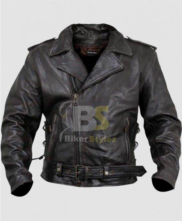 XELEMENT XS-589 ARMORED BLACK LEATHER CLASSIC BIKER CLOTHING