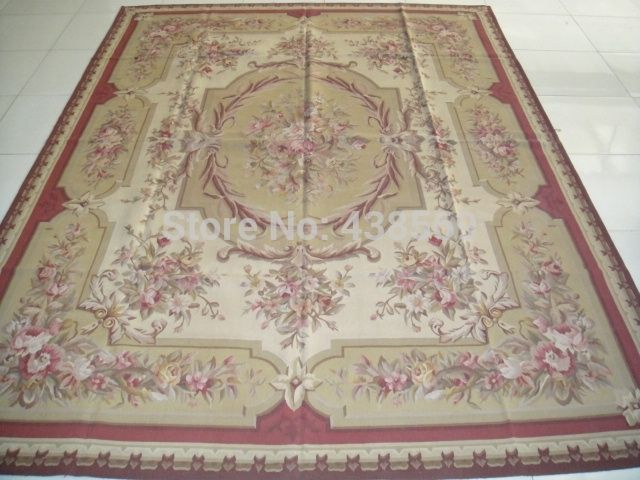 Free Shipping 9 X12 French Aubusson Woolen Rugs Red Beige Shabby Chic Carpets All Kinds Of Rugs In Our Store Cheap Carpet Rugs On Carpet Quality Carpets