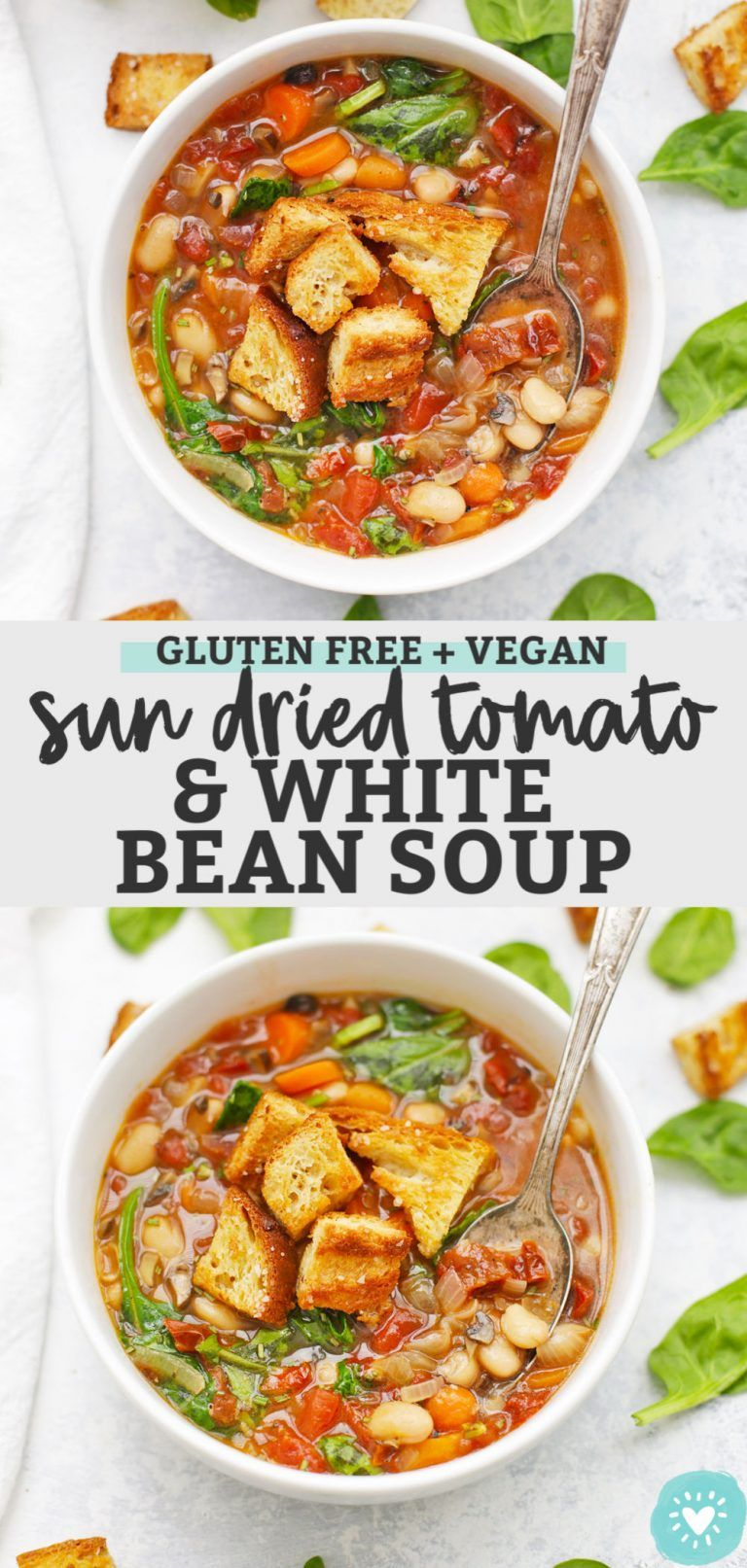 Photo of Sun Dried Tomato White Bean Soup (PACKED with flavor!)