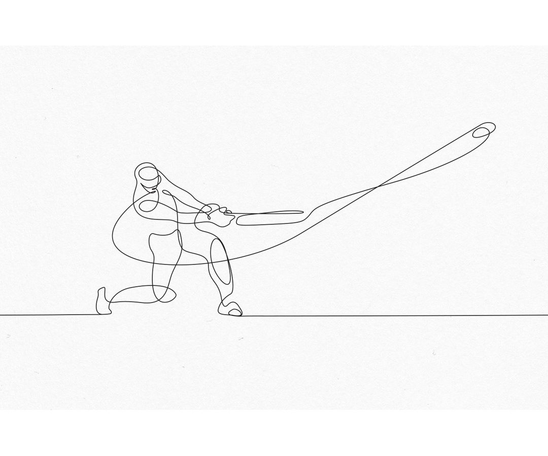 One line illustration cricket player drawing by one line