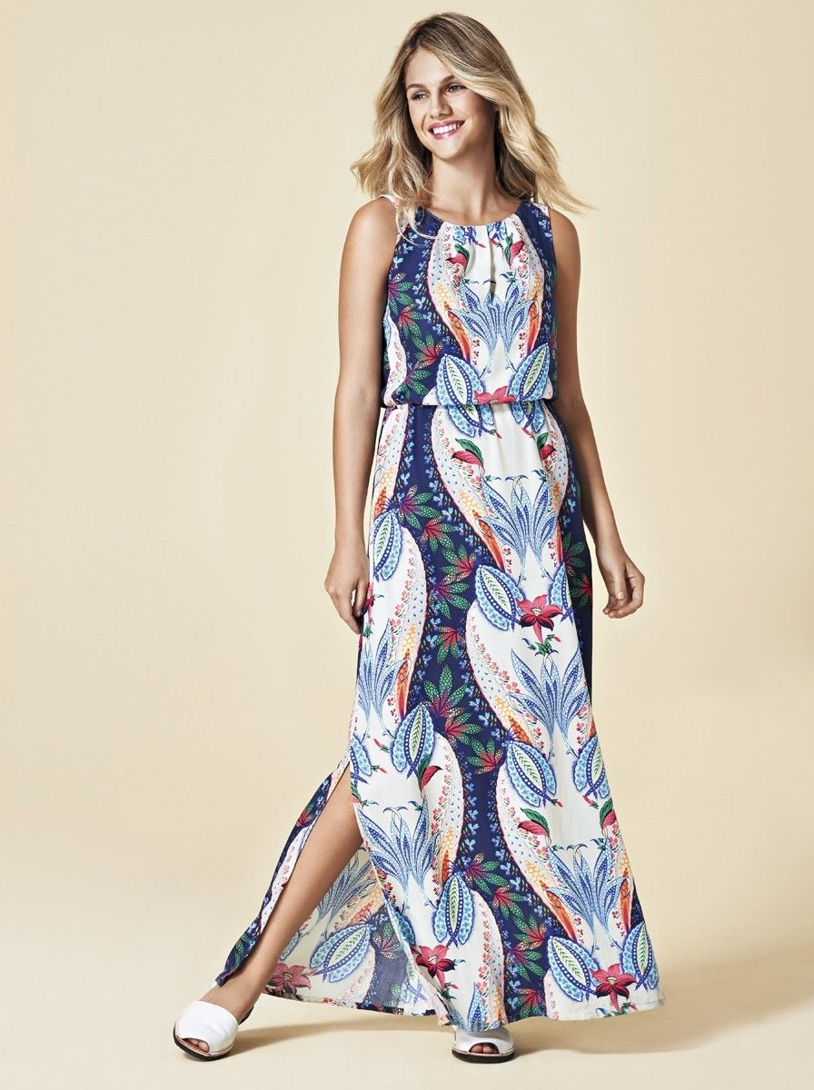 Tecido para vestido longo estampado