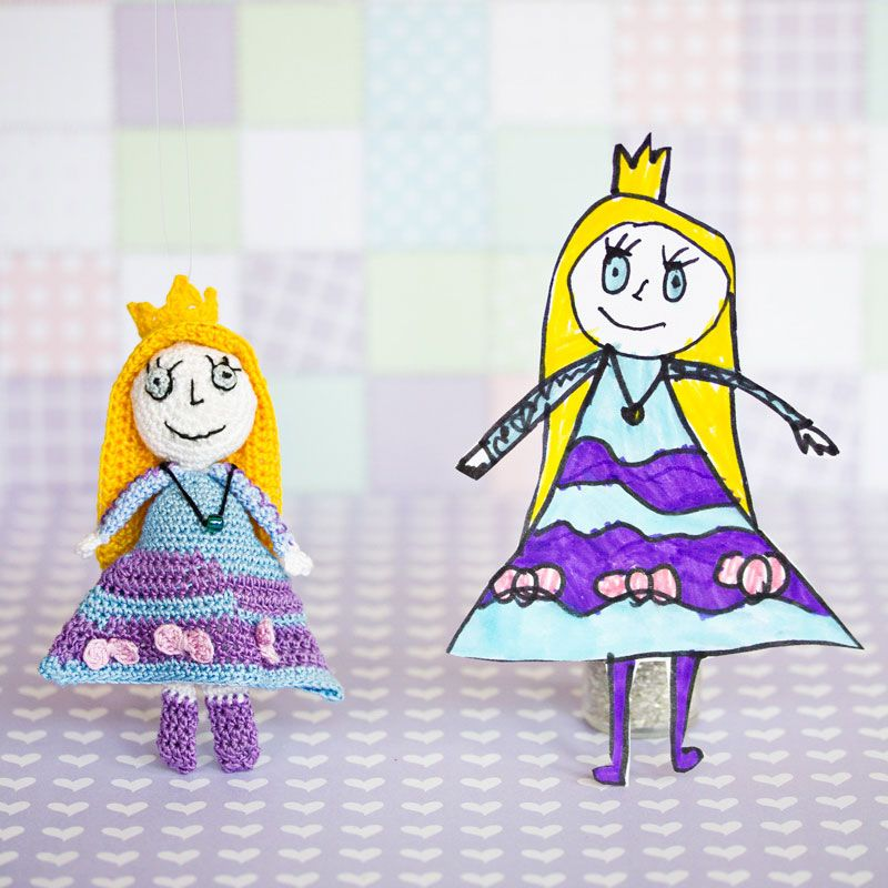 Crochet princess from children\'s drawing from Annie\'s Granny Design ...