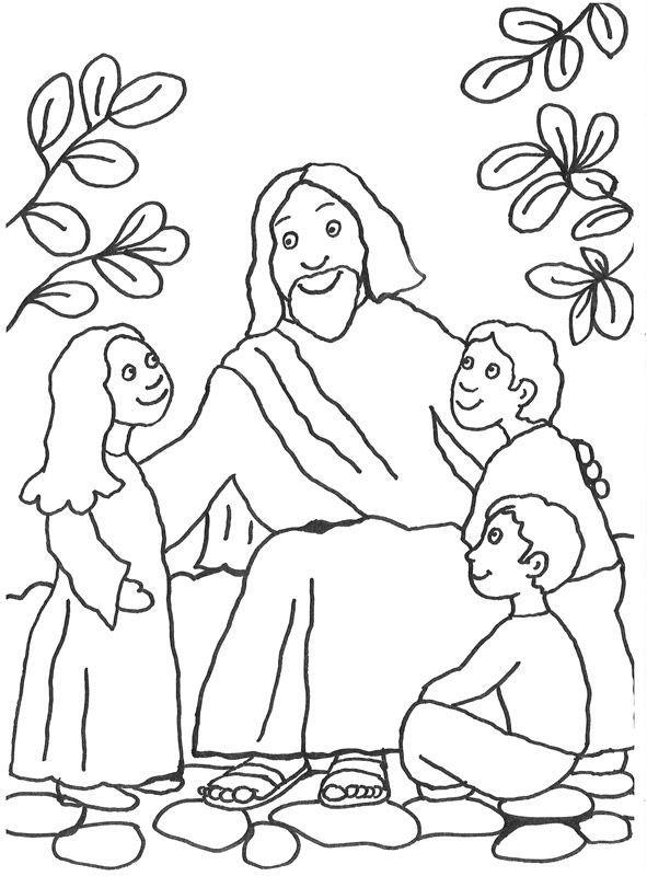 Jesus spricht mit Kindern. Mit Buntstiften oder Wachsmalkreiden kann ...