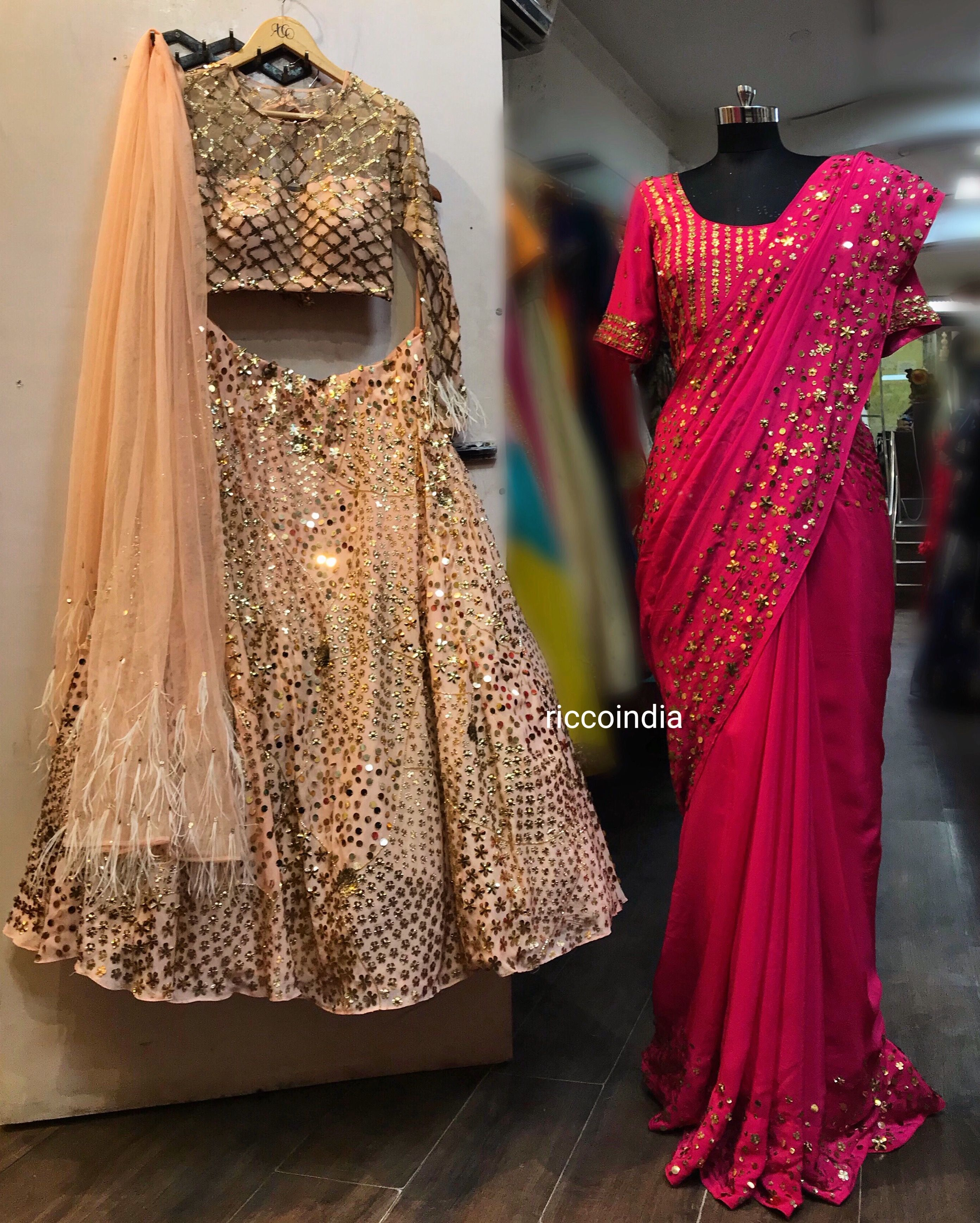 524d805f144 Peach sequin work Lehenga for the daughter and pink saree with sequin  embroidery for the mother.