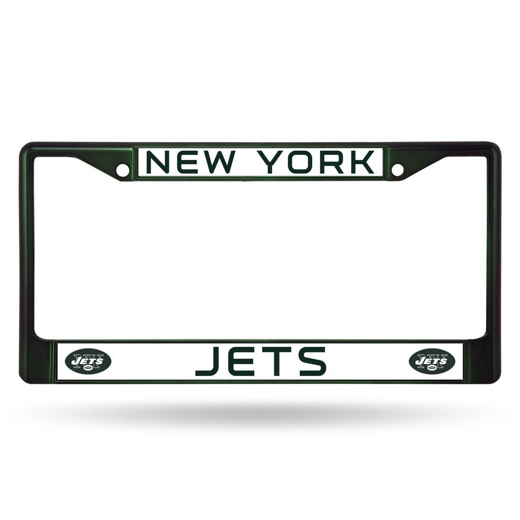 New York Jets License Plate Frame Metal Dark Green | License plate ...