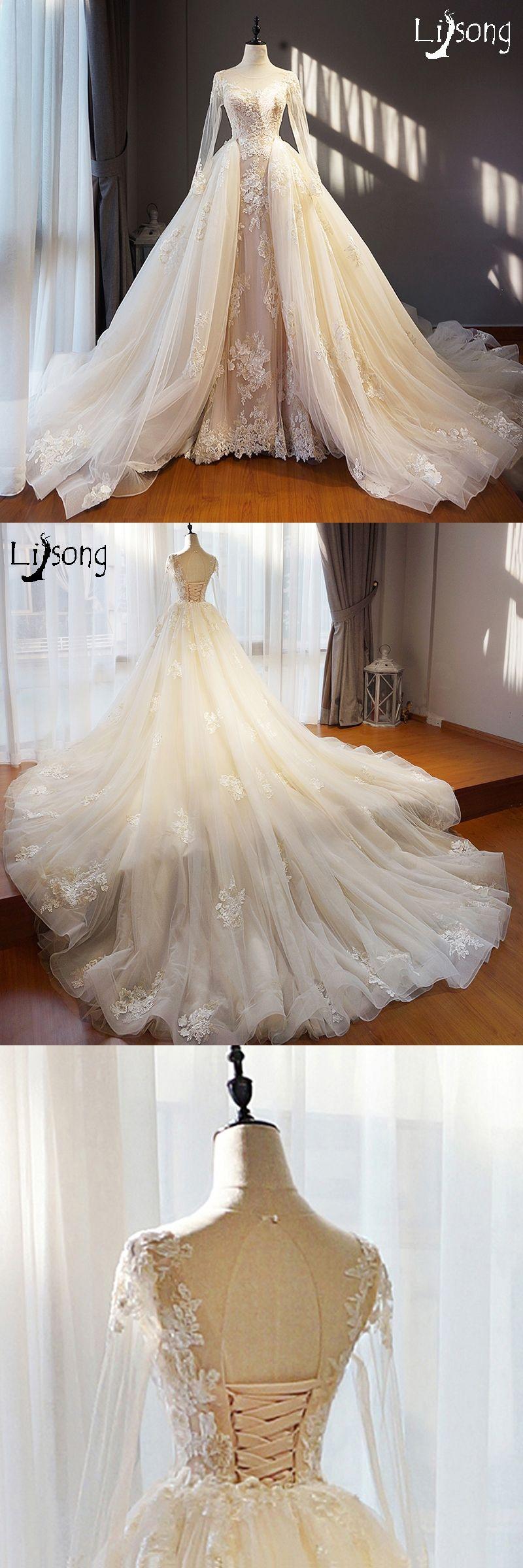 Champagne and ivory wedding dress  Light Champagne Ivory Unique Wedding Dress Long Removable Train Hem