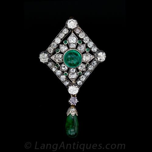 Antique Emerald and Diamond Pin / Pendant - 50-1-1544 - Lang Antiques