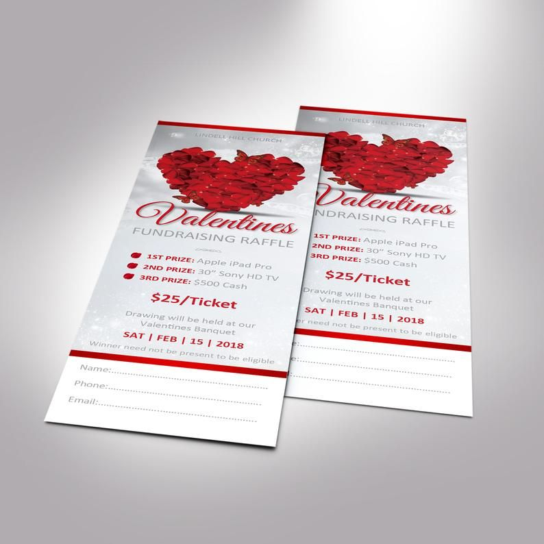 Petals Valentines Raffle Ticket Word Publisher Template Fundraising Event Size 2 X7 Fundraiser Raffle Valentines Raffle Tickets Template