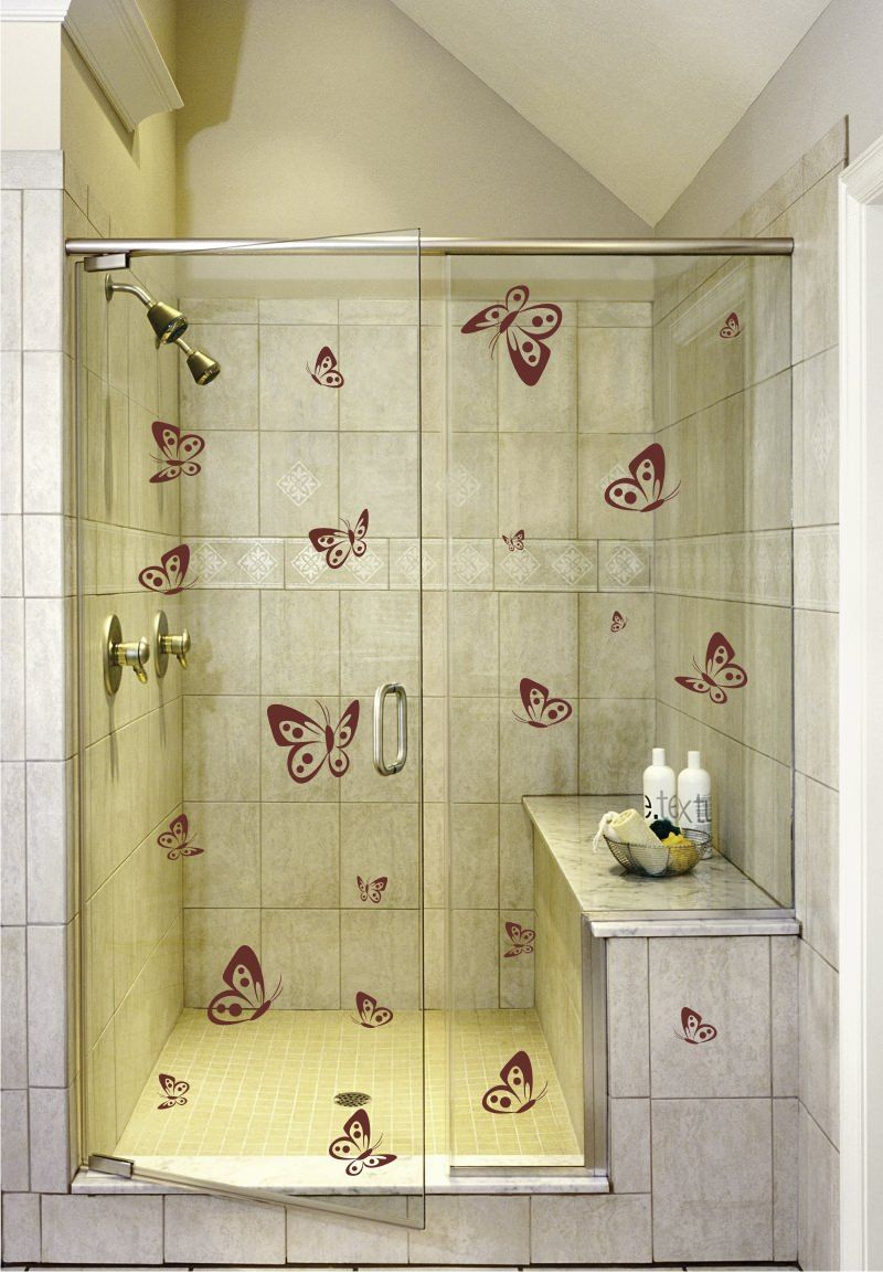 Shower door vinyl decal 30 surround yourself with butterflies in your shower now with your