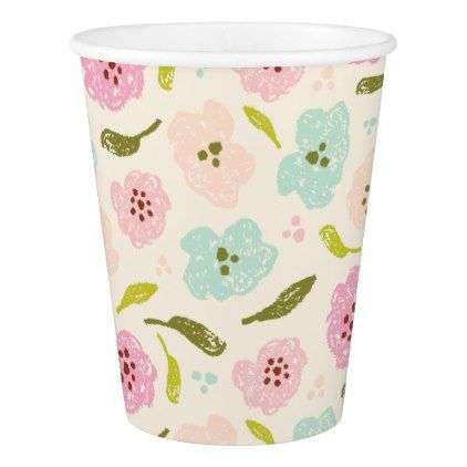 Floral Pattern Mint Pink Off White Paper Cup pattern Pinterest