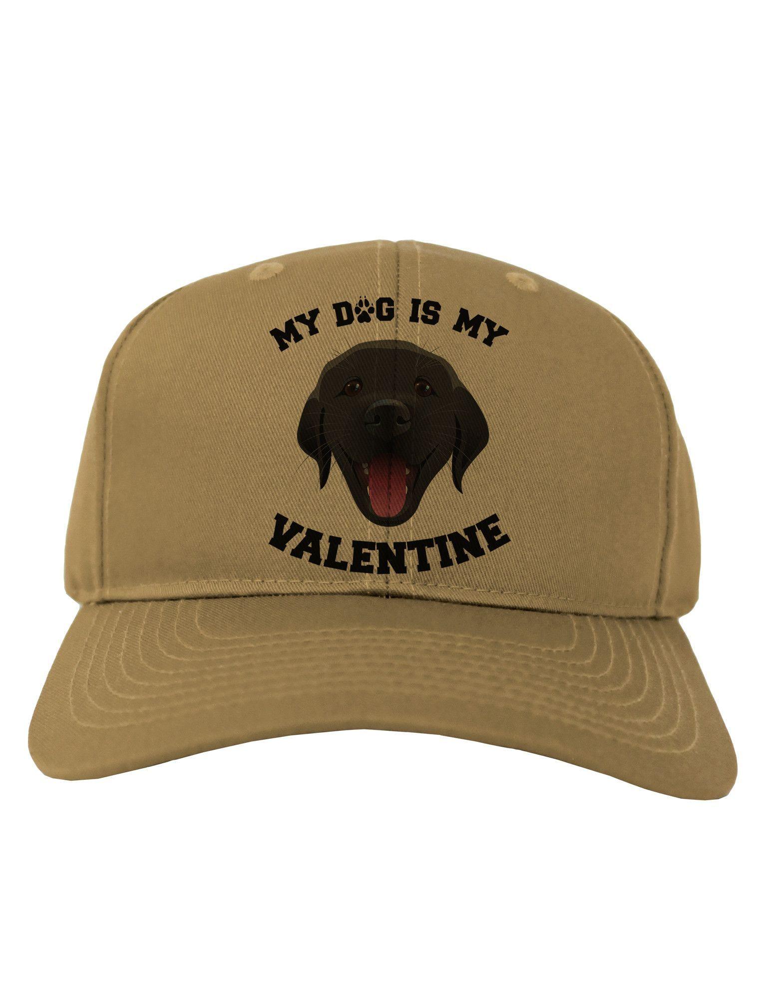 TooLoud My Dog is my Valentine Black Adult Baseball Cap Hat