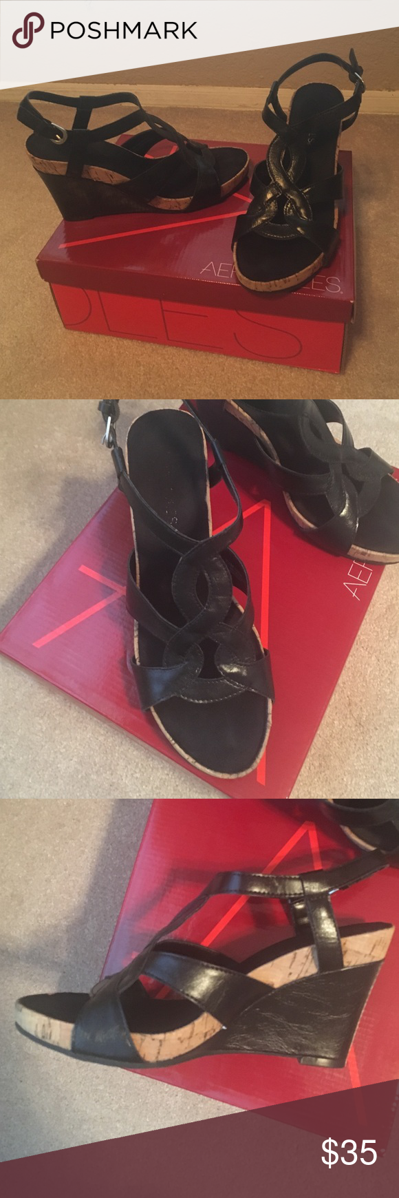 Black sandals size 7 - Aerosols Black Sandals Size 7 1 2 Memory Foam Comfort Wedge Sandals Aerosoles Shoes Wedges
