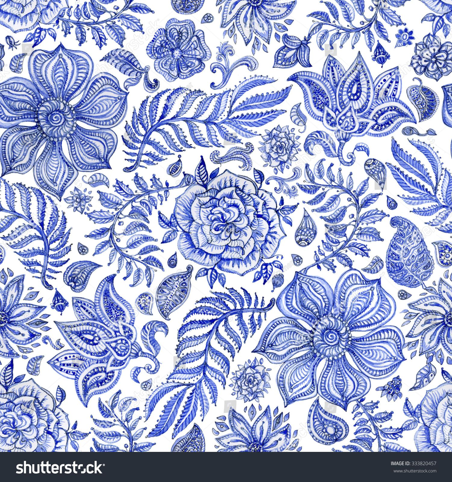 stock-photo-abstract-seamless-floral-pattern-of-indigo-blue-hand-painted-watercolor-fantasy-leaves-flowers-333820457.jpg (1500×1600)