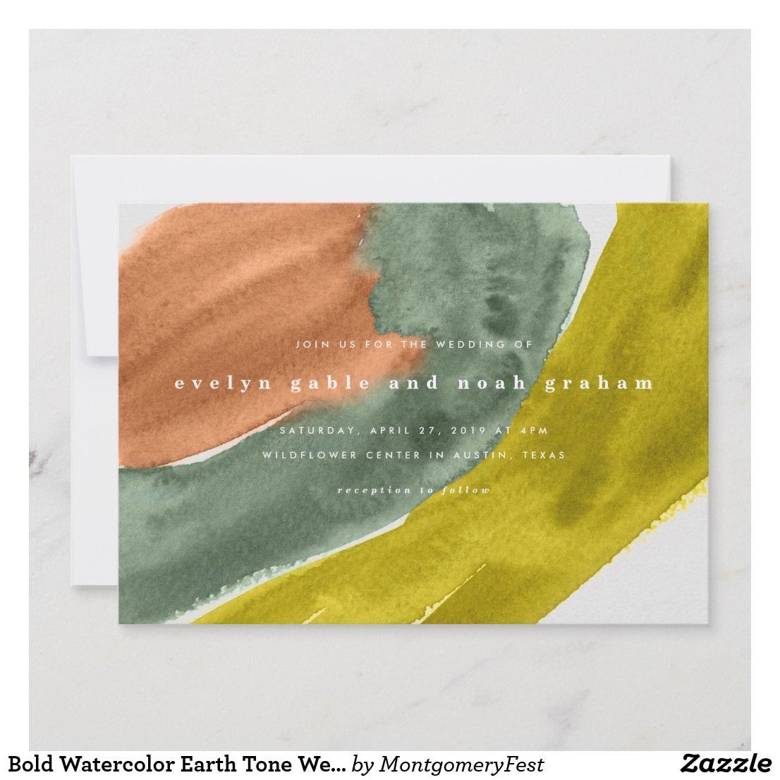 Bold Watercolor Earth Tone Wedding Invitation