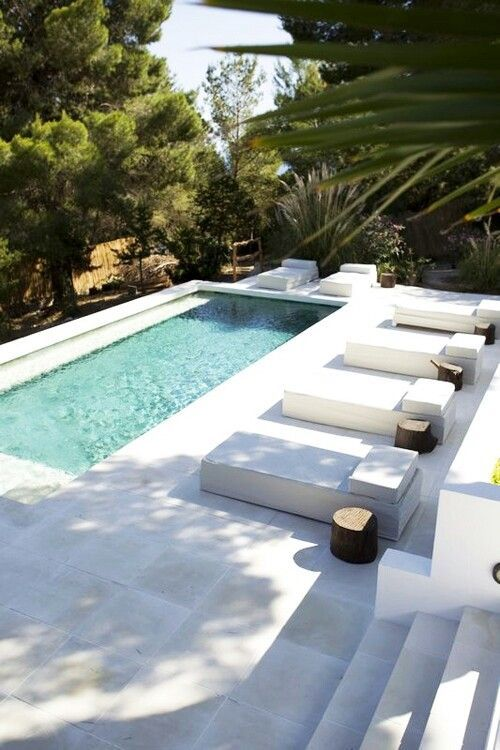 Exterior Pools Length Side Submerged Pool Bench Small Pool