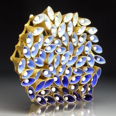 Hexagonal brooch - Blue shaded enamel and 18ct gold by Jacqueline Ryan