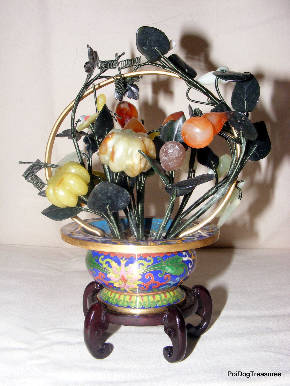 2bc89b1f8b89 Gorgeous Cloisonne Jade Tree with Semi Precious Stone Flowers Jade Tree