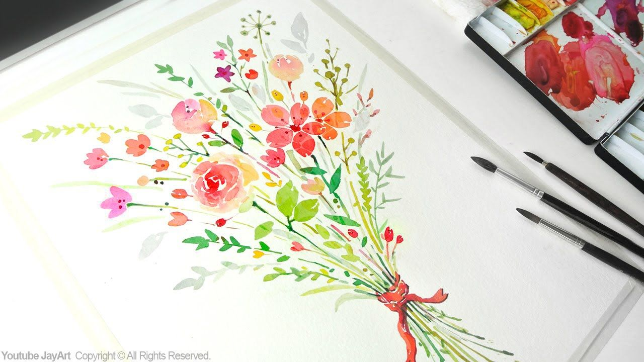 How To Paint A Flower Bouquet With Watercolors Jay Art Flower