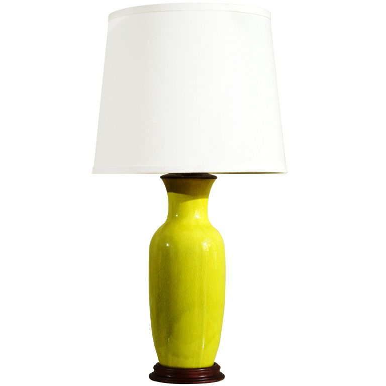 Chartreuse Crackle Glaze Table Lamp China 1920 S A Beautiful Pop