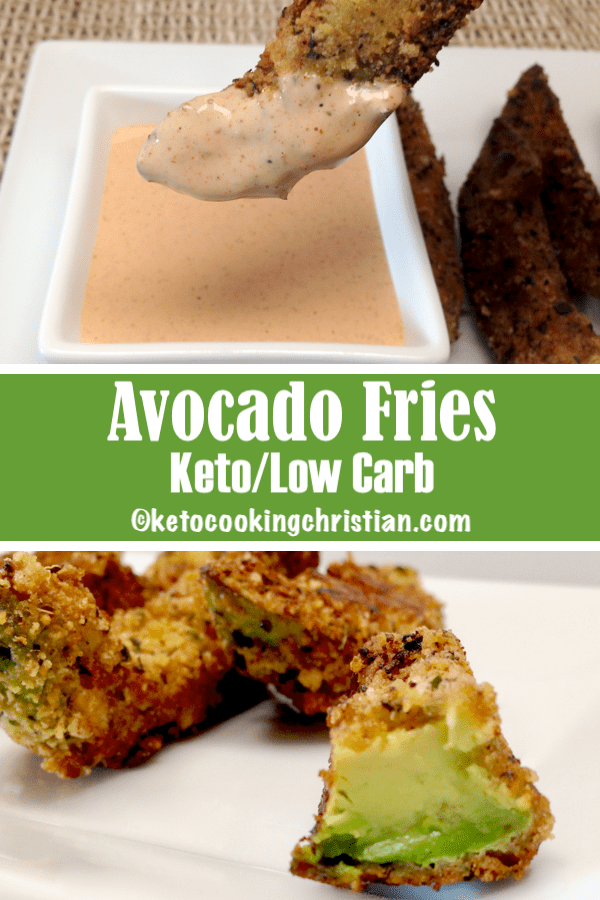 Avocado Fries with Dipping Sauce - Keto, Low Carb & Gluten Free These avocado fries are crunchy on the outside and creamy inside. The zesty dipping sauce pairs beautifully with them and many other fried goodies!