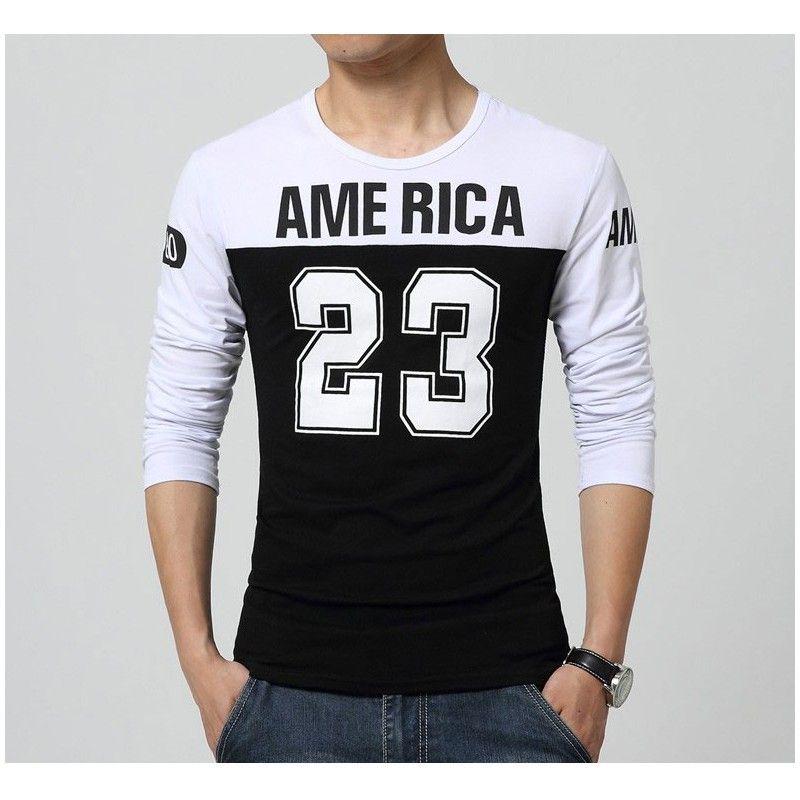 Camiseta America 23 Masculina Esporte Colegial Manga Longa Casual