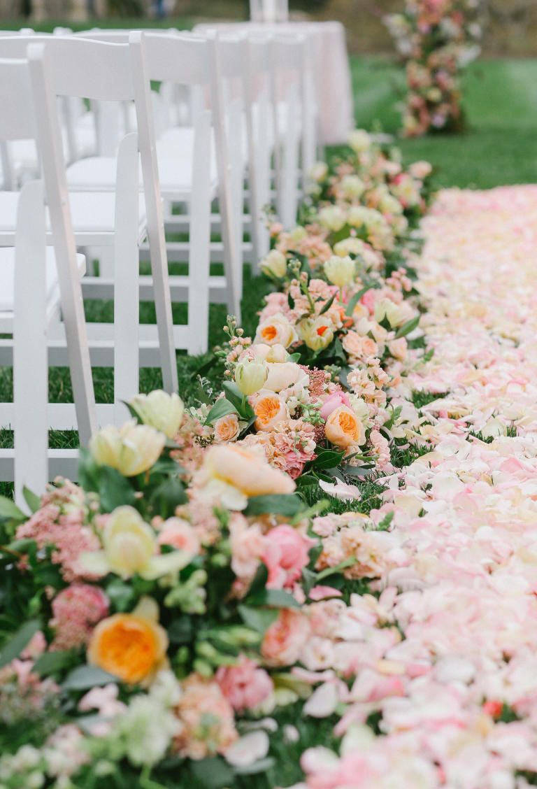 26 Most Insta Worthy Flower Ideas We Ve Ever Seen Wedding Ceremony Flowers Wedding Aisle Decorations Ceremony Flowers