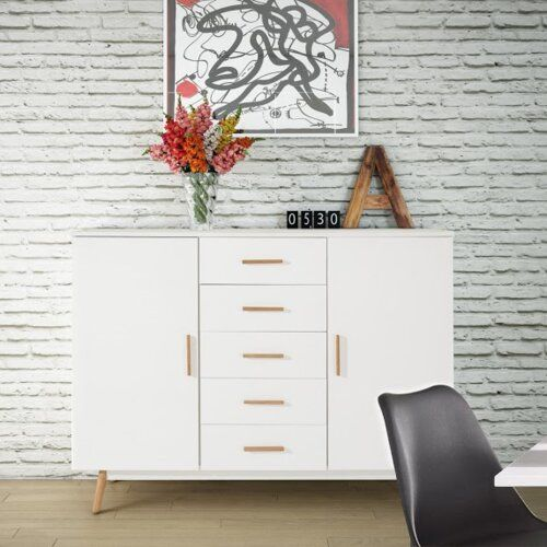 Mikado Living Attractive highboard made of FSC-certified wood, which comes from sustainable forests. The spacious highboard is made with clean, simple lines, and will look good in any modern home