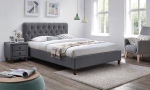 Credenza Moderna Groupon : Groupon melbourne chesterfield grey fabric bed frame in choice