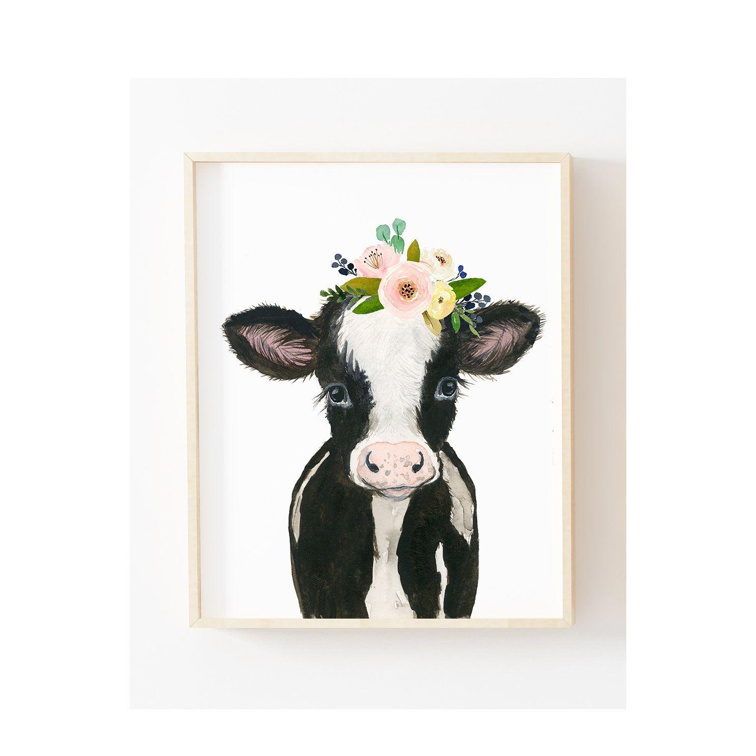 Cow Painting Farm Nursery Decor Cow Print Baby Farm Animal prints Nursery wall art Nursery Animal prints Farm baby shower flower crown cow