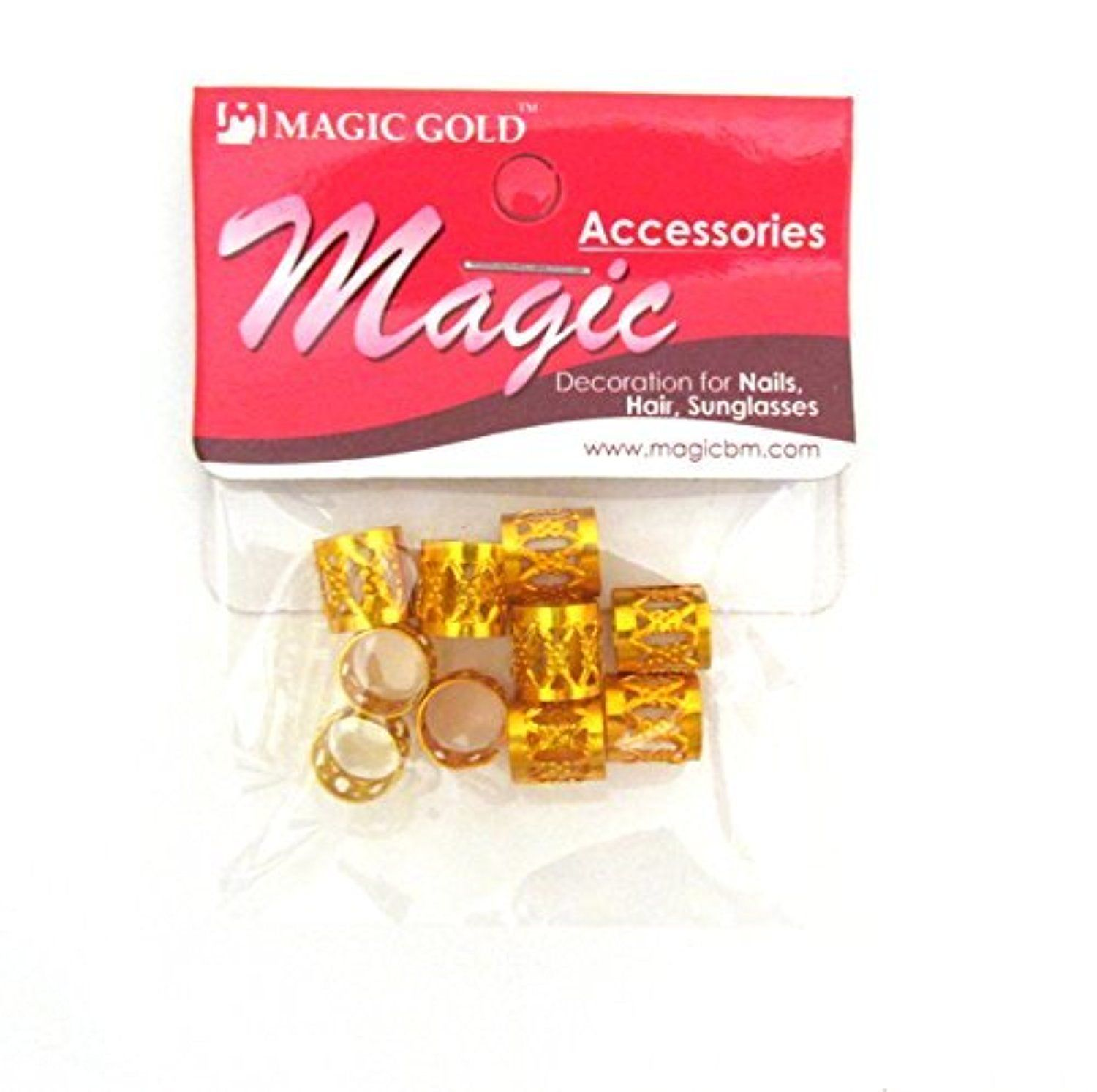 Magic Dread Lock Dreadlocks Braiding Beads GOLD Metal Cuffs Hair Accessories Decoration Filigree Tube (10 mm, Gold) 10 pieces by Rasta Imposta -- Awesome products selected by Anna Churchill