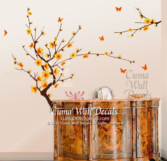 Yellow Cherry Blossom Wall Decals Butterfly Vinyl Wall By Cuma - Yellow wall decals