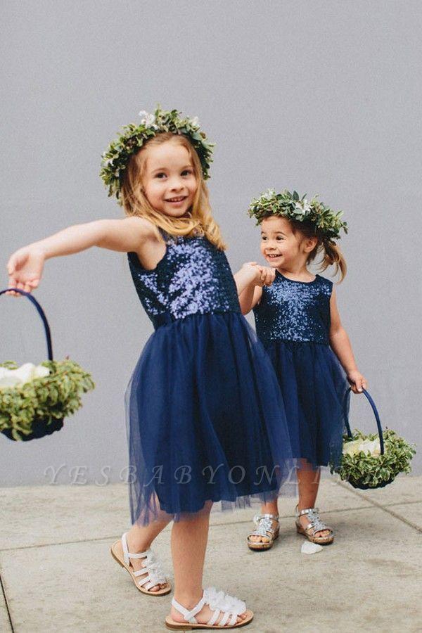 Lovely Blue Short Sequined Flower Girl Dresses -   19 dress Flower Girl blue ideas