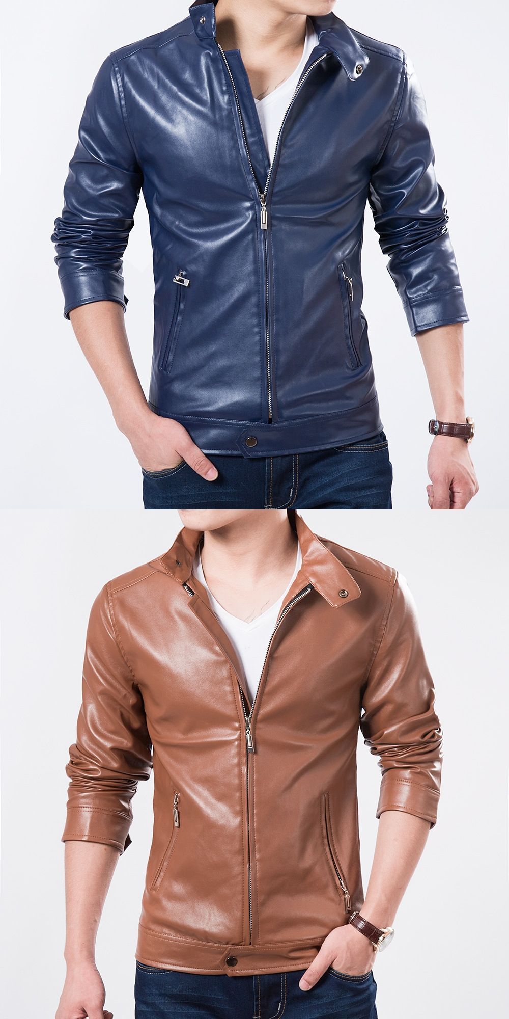 New Sales Top Men Fashion Spring Leather Jacket Solid Slim Stand Collar Motorcycle Style Man Outwear Spring Leather Jacket Motorcycle Fashion Men Casual Coat [ 2000 x 1000 Pixel ]
