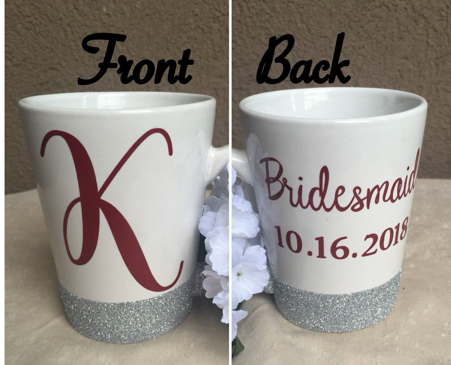 Wedding Personalized Bridesmaid Gifts 17 best ideas about bridesmaid mug on pinterest brides maid coffee mugglitter mugupper case initial mugcustom mugbridesmaid giftbridal party giftspersonalized cof