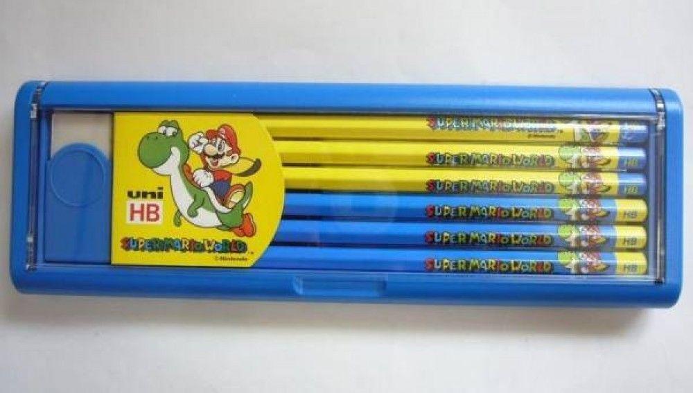 Uni Super Mario World HB Pencil 1 Dozen w/ Plastic Case Japan VINTAGE Nintendo #Uni