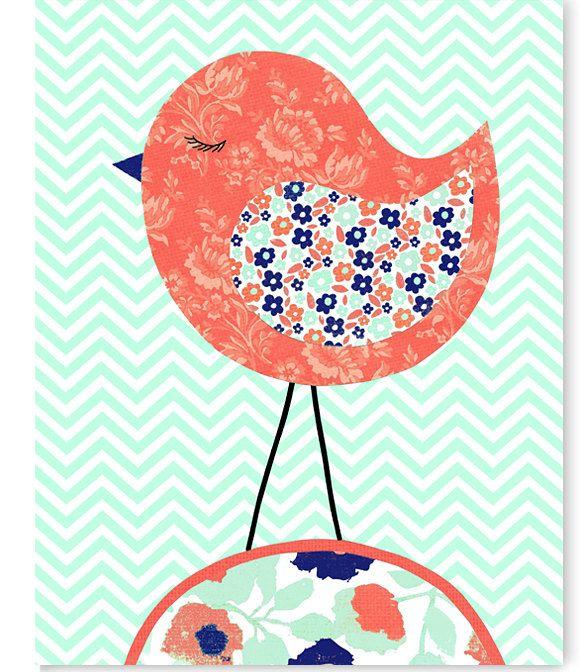 Bird Nursery Art Coral Mint Navy Nursery Decor Girl 39 S