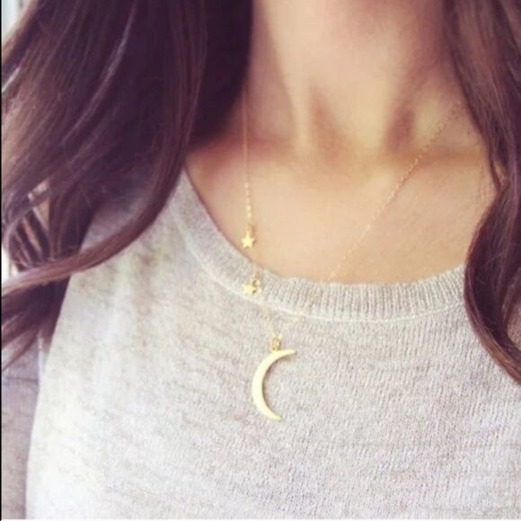 ⭐️Brand New Moon & Star Necklace ☄✨Brand new Moon & Star necklace. Gold toned not real gold. Not Brandy. Features 2 stars and one crescent moon. Super cute! Galaxy. Stars. Sky. Adjustable chain☄✨ Brandy Melville Jewelry Necklaces