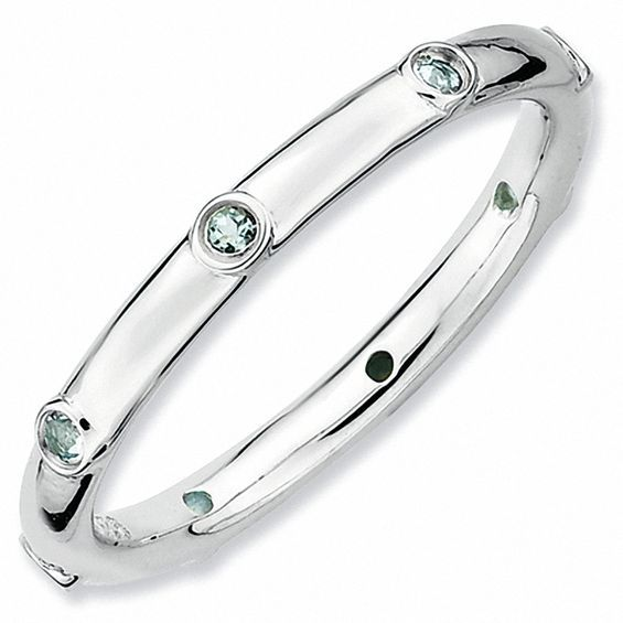 Stackable Expressions Aquamarine Station Ring In Sterling