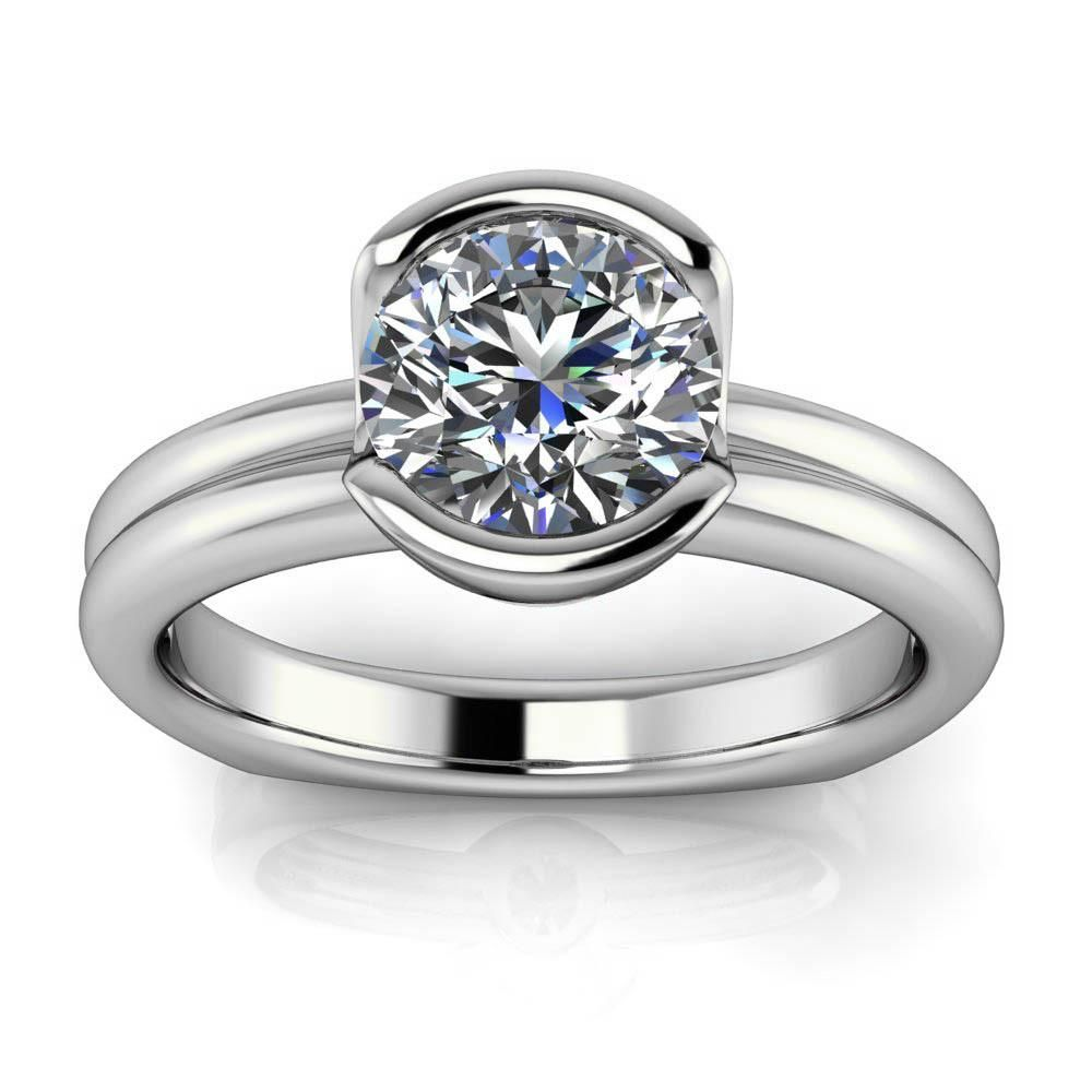 Half bezel engagement ring moissanite engagement ring euro shank