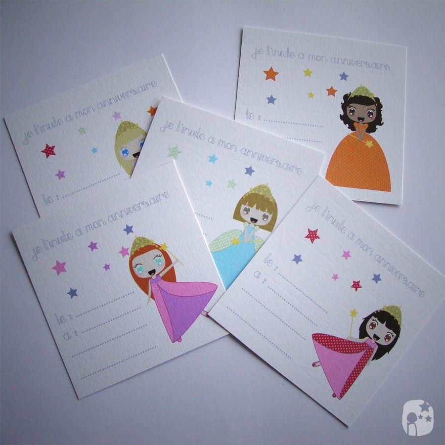 Cartes d'invitations anniversaire Princesse | Carte invitation anniversaire, Carte invitation ...