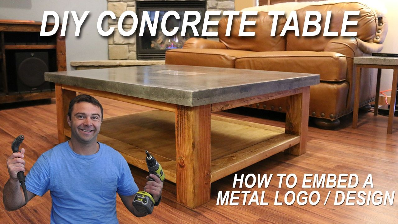 How To Make a Concrete Coffee Table and How to Embed a Metal Design ...