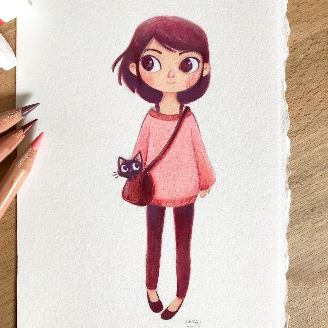 Little Girl With Cat On Behance