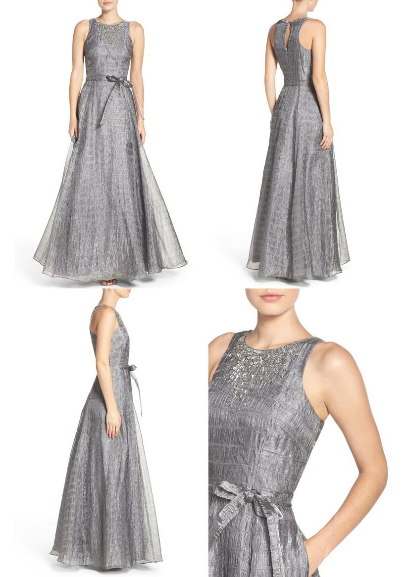 Semi formal wedding guest dresses  Aidan Mattox Beaded Metallic Organza Gown Formal Gown Formal Dress
