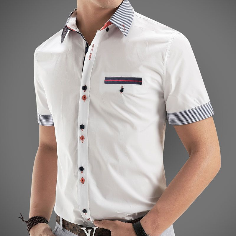 a19cc8f0 New 2014 Italian Dress shirts Men's Blouses Short-sleeve Casual Shirt Slim  Fit Chemise Homme Free Shipping