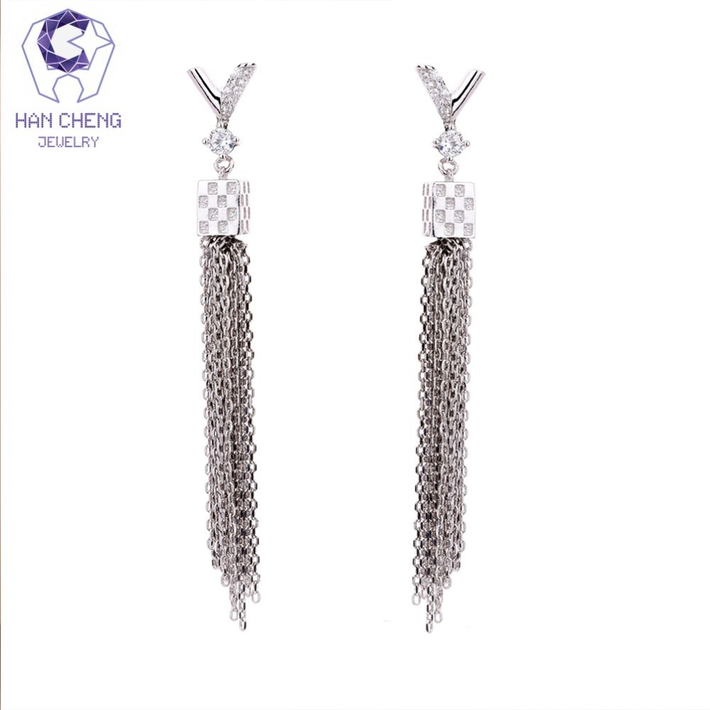 925 Sterling Silver Butterfly Zircon Tassel Long Drop Earrings Women Fashion Jewelry,Silver
