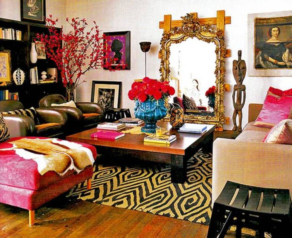 Living Room Gorgeous Bohemian With Ornate Mirror
