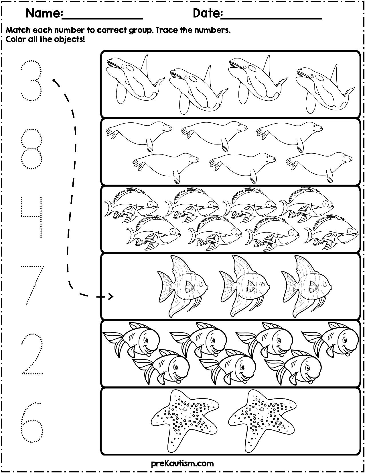 Ocean Animals Count and Match   Numbers 1-10   Math activities preschool [ 1650 x 1275 Pixel ]